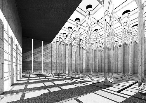 "Danteum 3 (digital reconstruction) - Terrgani    The ""Danteum"" should have been a building designed in 1938 by two eminent Italian architects, Giuseppe Terragni and Pietro Lingeri. Today, it is well known for the allegoric organization of space following Dante's Divine Comedy. Because of Mussolini's decline during World War II, the project has never been realized and thus has become one of the best known never finished modern projects."