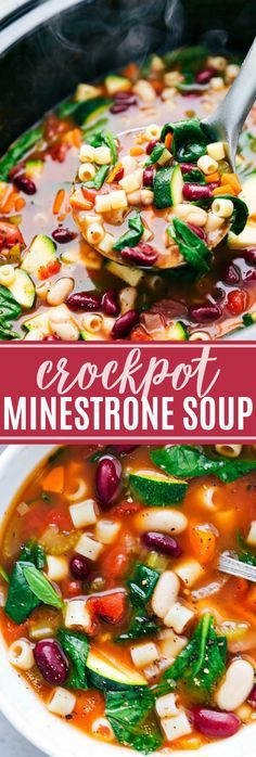 The most delicious, healthy, ad veggie-filled CROCKPOT MINESTRONE! This easy dump it and forget about it soup is sure to be a hit! via chelseasmessyapron.com | #vegetables #vegetarian #veggie #crockpot #slowcooker #slow #cooker #easy #quick #pasta #beans #kid #friendly #family