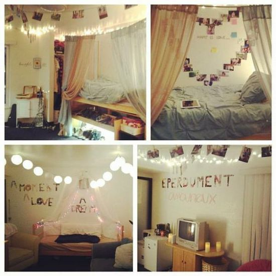 Cute diy dorm room decor ideas college life pinterest for Cute bedroom designs for small rooms