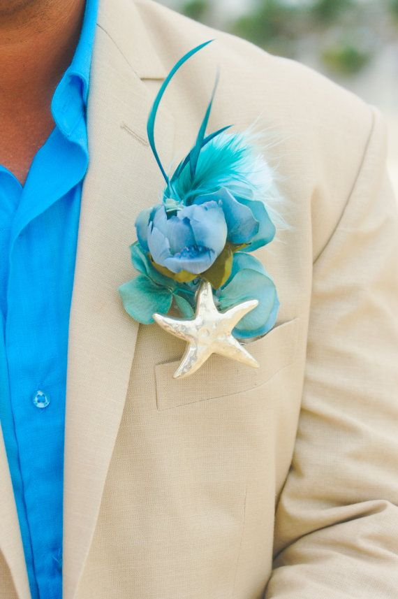 Starfish Boutonniere Men Wedding Accessory Buttonhole by 3Mimis
