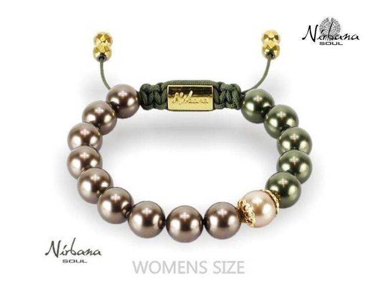 Nirbana Soul - Amelita  - Green and coffee brown Shamballa Swarovski pearl bracelet