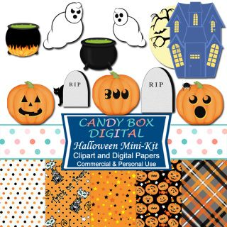 Here's a cute mini-kit with great Halloween digital papers and spooky, fun…