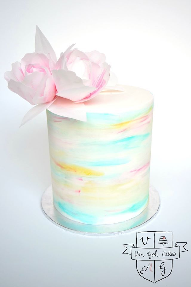 Double Barrel watercolour cake with wafer paper flowers - by Van Goh Cakes