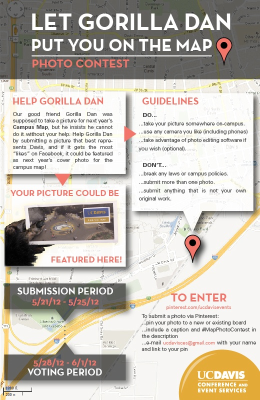 Cameras ready? Gorilla Dan needs your help to find a cover photo for the UC Davis Campus Map! Find your favorite photo of campus or snap a picture this weekend because you can submit your entry starting Monday. Get ready to let Gorilla Dan put you on the map! #MapPhotoContest