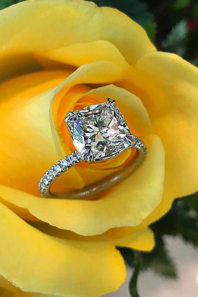 Brilliant Cushion Cut Engagement Rings ❤ See more: http://www.weddingforward.com/cushion-cut-engagement-rings/ #weddingforward #bride #bridal #wedding