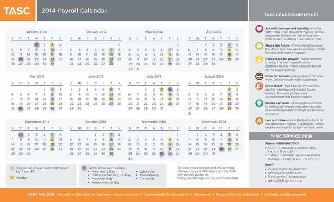2013 Payroll Calendar