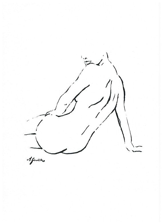 NUDE FEMININITY II - Fine Art Print after an original drawing by Milena Gawlik, Black & White, minimalistic sensual nude