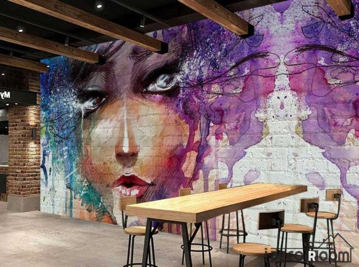 Graphic Design Colorful Drawing Woman Restaurant Art Wall Murals Wallpaper Decals Prints Decor