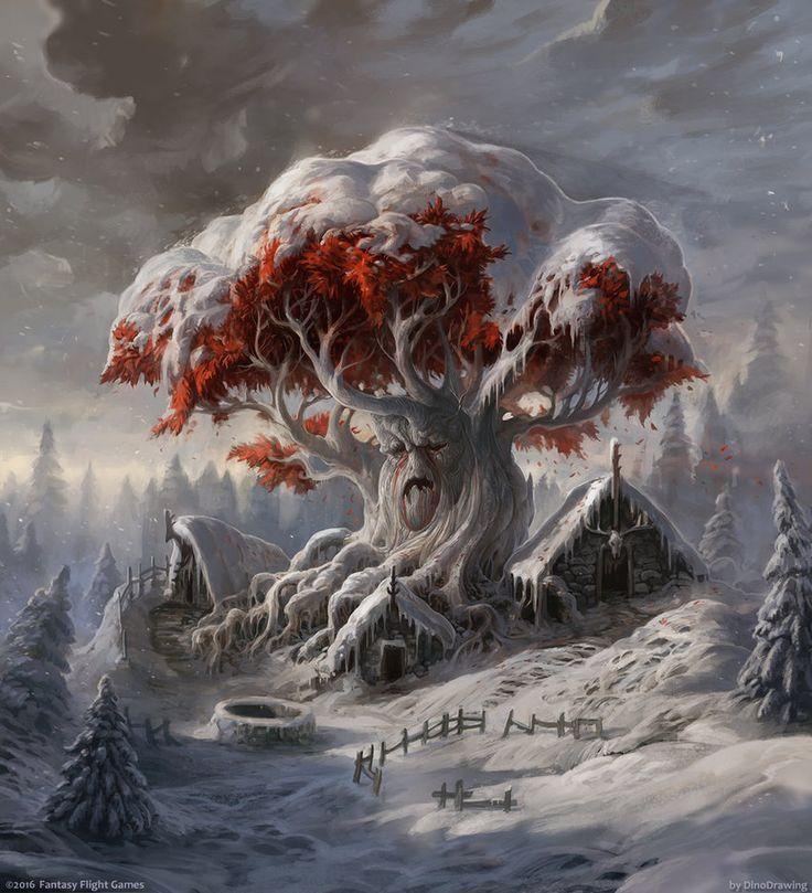 White Tree: Beautiful Illustration of a Weirwood Tree by Sergey Glushakov