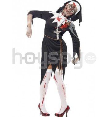 #Disfraz de #monja #zombie. Este disfraz consta de: vestido con piezas de látex, cuerda y pieza de cabeza #Halloween #Disfraces #Carnaval