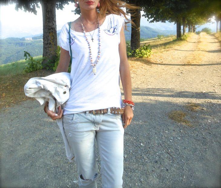 tshirt con rondini, tee ispirate ai tatoo, swallow t shirt , Automa style 2013, idee outfit tshirt, giubbino denim amanda marzolini , the fashionamy fashion blog, bijoux tatibijoux , pietremozioni, quinto ego, ibiza passion,