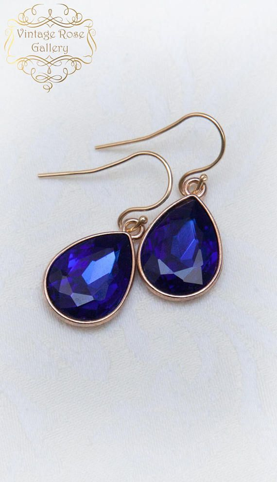 CHRISTMAS SALE Sapphire Blue Crystal Earring Classic style