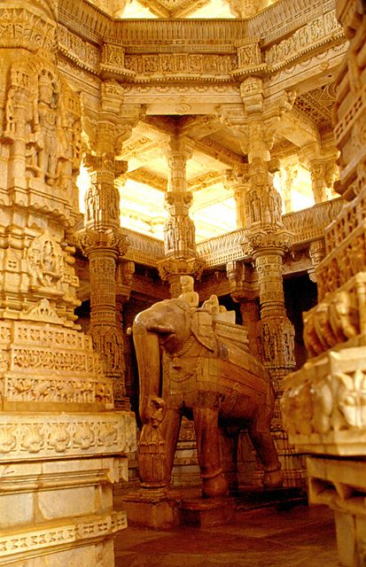 Ranakpur Temple, Rajasthan - the world's largest Jain Temple with more than 1,000 pillars hand-carved with incredible detail and stories.