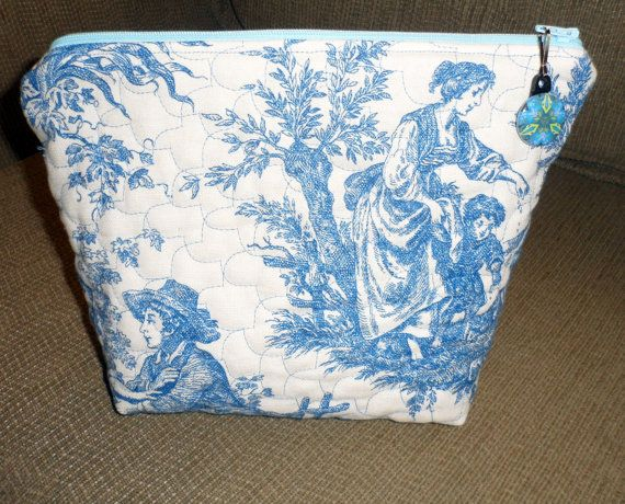 QUILTED FRENCH TOILE Cosmetic Bag / Large by BAGLADYFROMTHEBAY