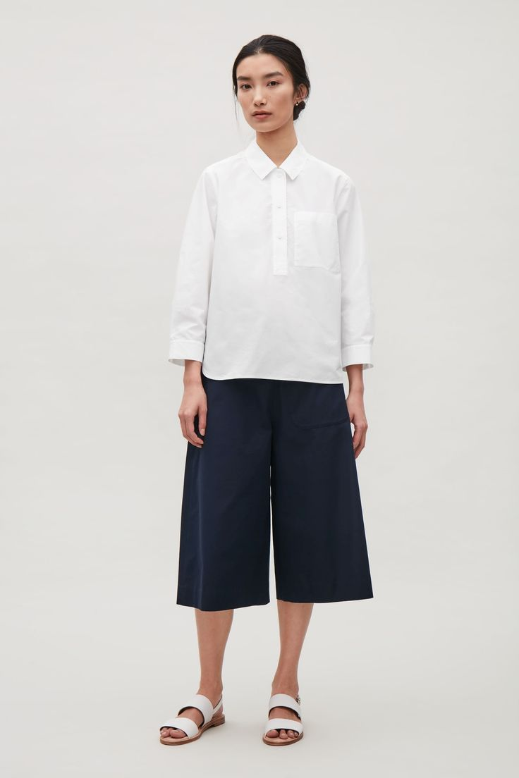 COS image 1 of Grandad collar shirt in White