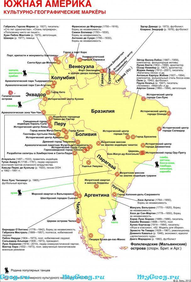 Южная Америка. Культурологическая карта.