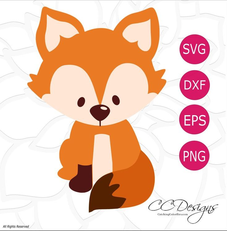 Baby Fox SVG Cut File, Cute Baby Fox with Tail Cutting File, Baby Forest Woodland Animal SVGs, HTV