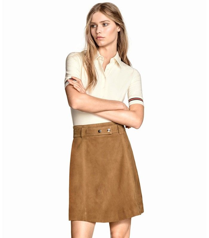 H&M Suede Skirt in Beige