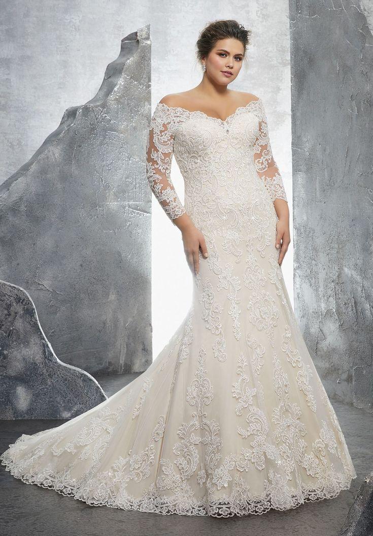 Mori Lee 3231 Kameron Off-The-Shoulder Long Sleeve Wedding Dress