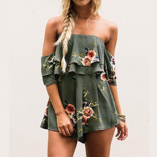 Fashion Flower Print Strapless Romper Jumpsuit