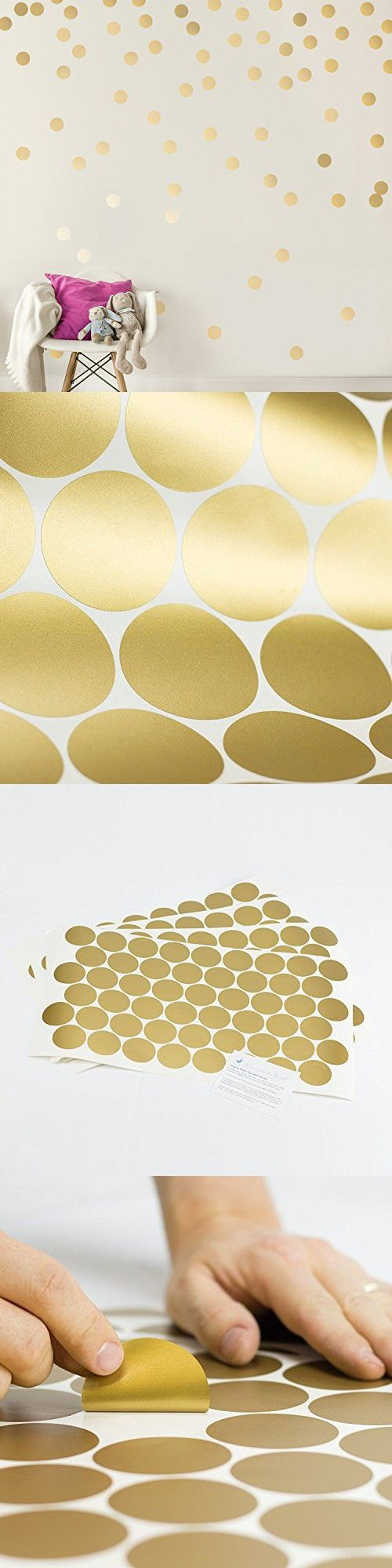 Easy Peel   Stick Gold Wall Decal Dots - 2 Inch (200 Decals) - Safe on Walls & Paint - Metallic Vinyl Polka Dot Decor - Round Circle Art Glitter Stickers - Large Paper Sheet Baby Nursery Room Set