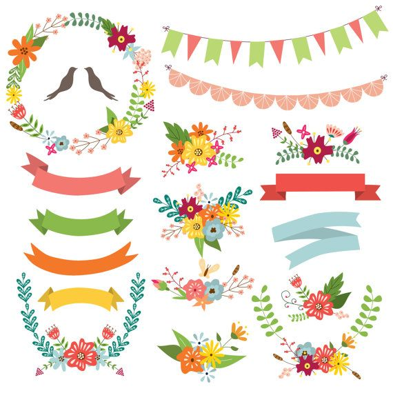 Floral Wreaths Wreath Clipart. Spring wreath by CutePaperStudio