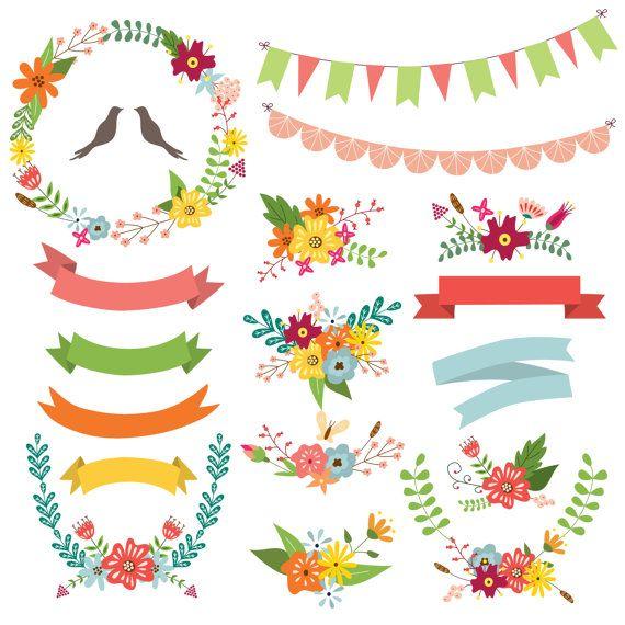 Floral Wreaths Wreath Clipart. Spring wreath by CutePaperStudio