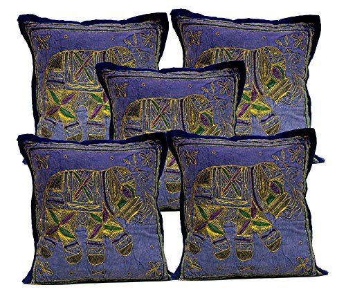 5 Dark Blue Indian Sequin Embroidery Ethnic Elephant Design Throws Pillow Cushion Covers Krishna Mart India http://www.amazon.com/dp/B011RDZX4Q/ref=cm_sw_r_pi_dp_ICaywb0779JDK