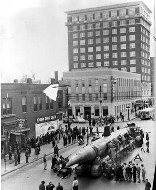 The Ha-19 Japanese midget submarine couldn't make it into Pearl Harbor on Dec. 7, 1941, but it showed up on Minnesota Avenue in Kansas City, Kan., to sell war bonds. The year likely was 1943, since the two-man, two-torpedo vessel had been paraded Dec. 12, 1942, at Los Angeles Memorial Coliseum during a USC-UCLA football game. Five of these subs were involved in the day of infamy; four were destroyed and this one ended up beached. You can see it today at the National Museum of the Pacific War…
