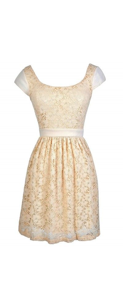 Perfect Silhouette Lace Capsleeve Dress in Beige