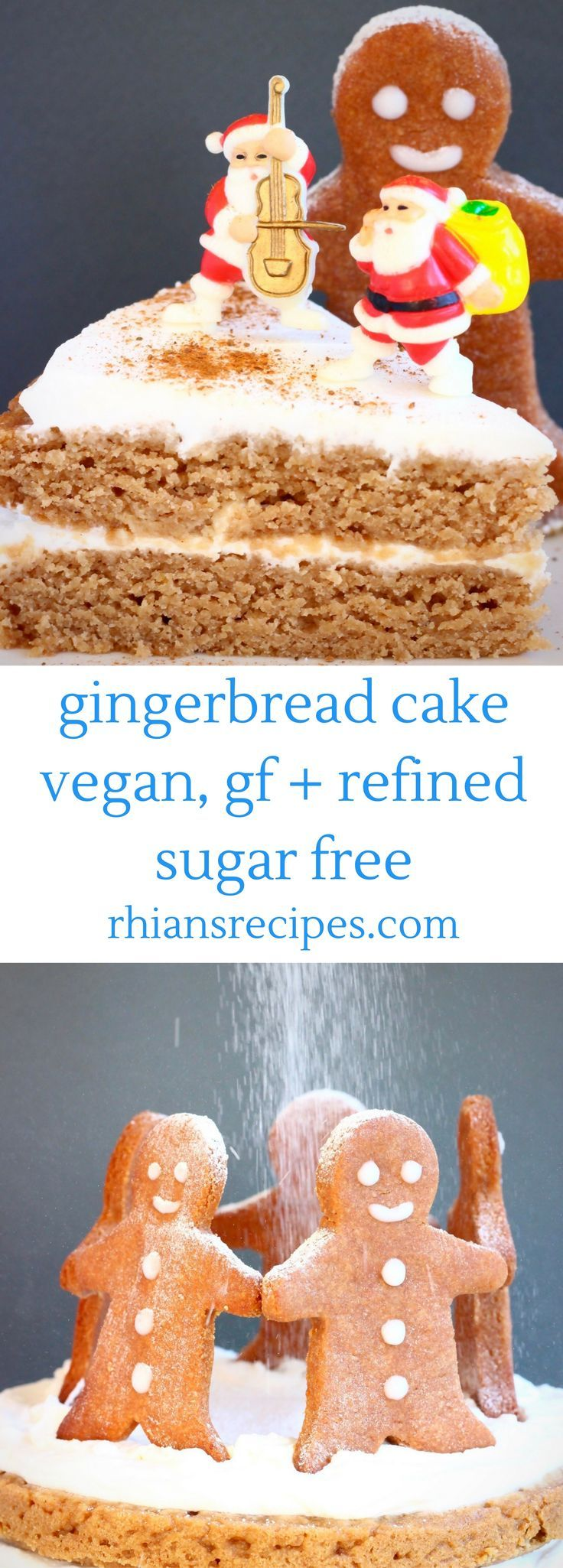 This Gluten-Free Vegan Gingerbread Cake is sweet and fragrant, covered in a delicious cream cheese frosting and perfect for the festive season! Also refined sugar free.
