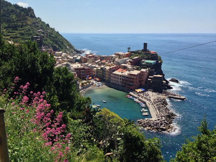 Vernazza, one of the beautiful cities of Cinque Terre on the Ligurian coast. There are coastal paths connecting the cities. An amazing walking experience.