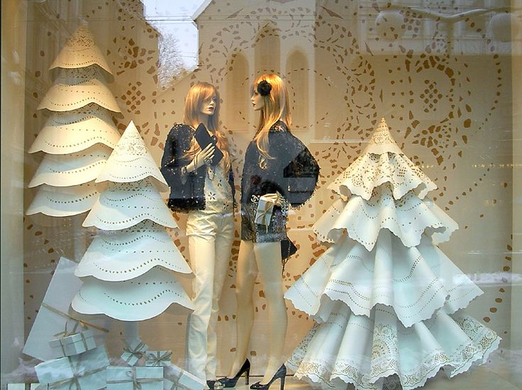 Paper trees Visual Merchandising and widow display