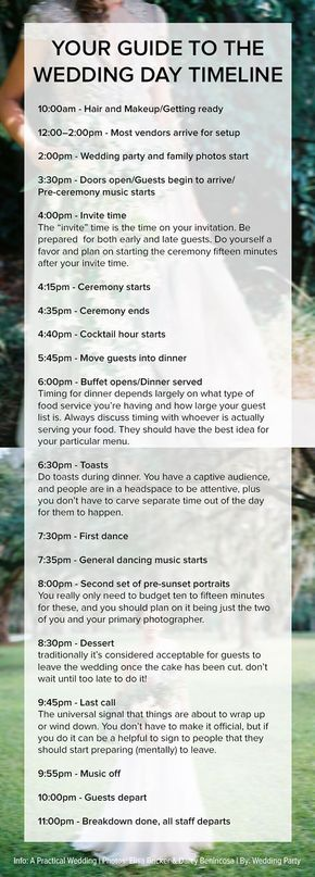 Wedding Planning: The complete guide to your wedding day timeline! Works for most afternoon/evening wedding ceremonies. Pin now, read later!