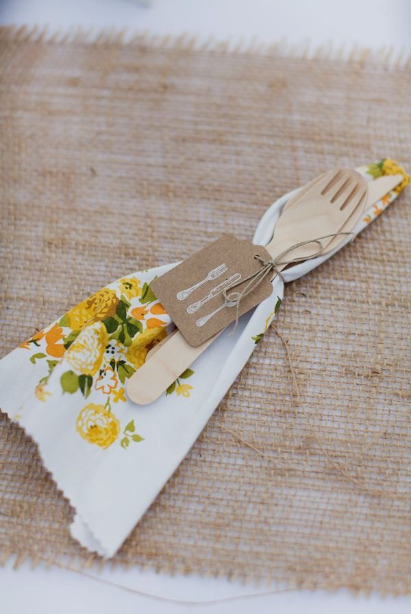Adorable napkins made from vintage sheets.    Glen Haven Wedding by Bryan and Mae Photography | Style Me Pretty