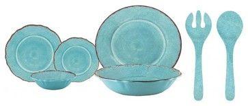 Le Cadeaux Antiqua Red 16 Piece Dinnerware Set, Turquoise rustic-dinnerware-sets