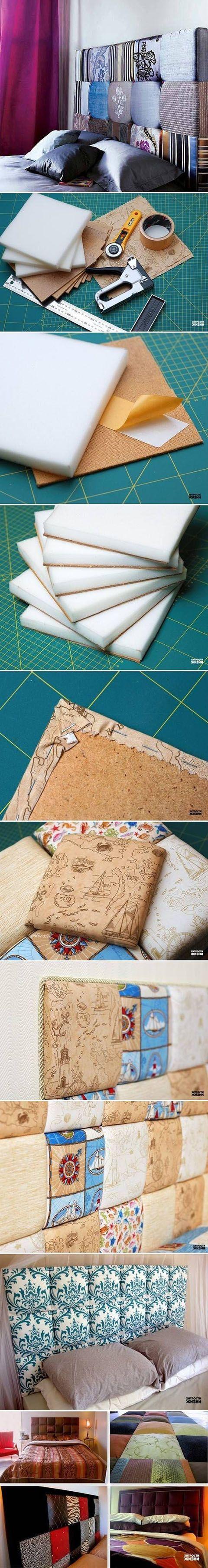 Cómo hacer una cabecera con cuadros de hule espuma y una tela con estampado favorito