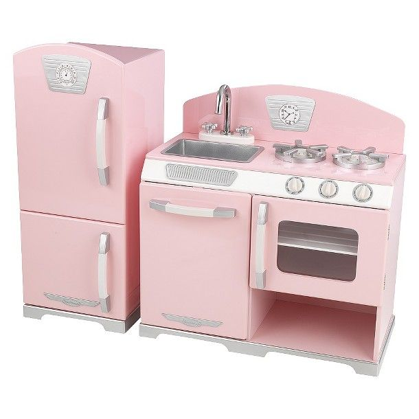 Kidkraft Pink Retro Kitchen and Refrigerator Play Set