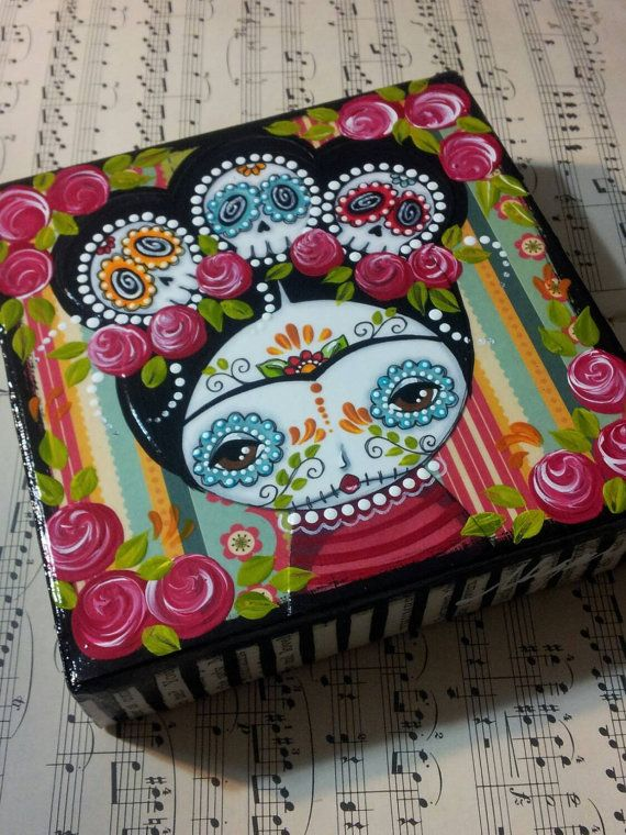 Hey, I found this really awesome Etsy listing at https://www.etsy.com/listing/234842393/frida-with-three-sugar-skulls-mixed