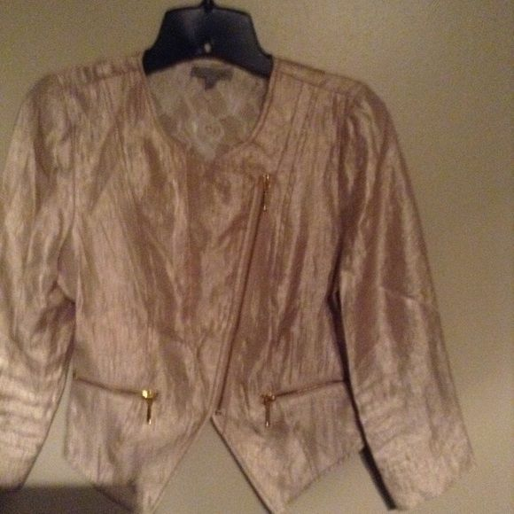 Charlotte Ruuse Jacket Gold with Lace Size M Gold jacket with lace inside. Gold zippers. Long sleeve. Slick material. Charlotte Russe Tops