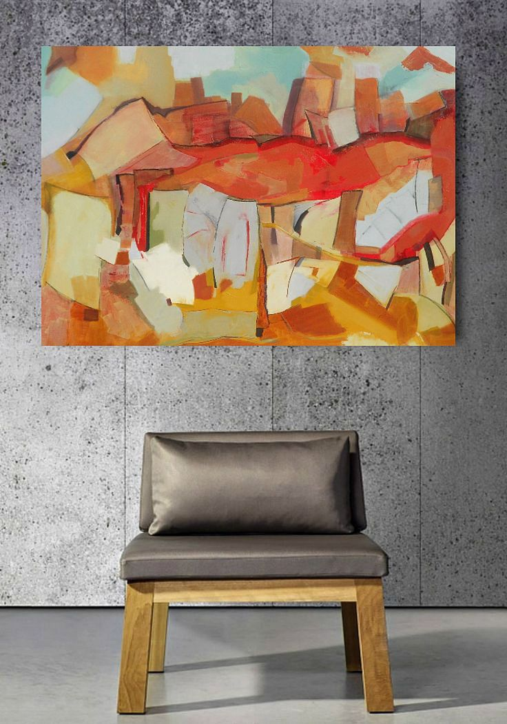 Abstract Oil Painting by Danielle Nelisse   acquire at www.daniellenelisse.com   interior design inspiration for living room   free shipping   7 day return policy