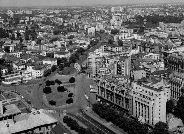Vedere din avion spre cartierul Izvor în 1967.
