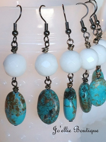 Set Of 3 Pairs Turquoise Bridesmaid Earring Boho Chic By Joellieboutiqueetsy