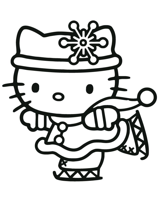 hello kitty face coloring pages hello kitty christmas ice skating coloring page