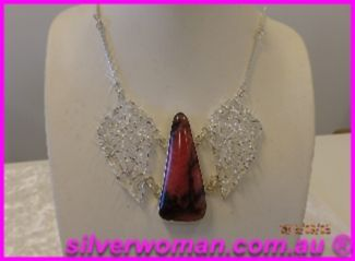 Rhodonite & sterling silver pendant with wings HANDCRAFTED