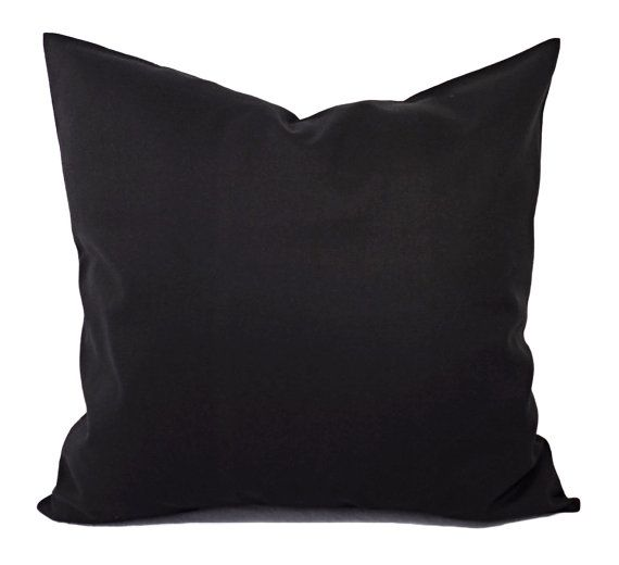 Two Solid Black Pillow Covers - Black Couch Pillow Covers - Throw Pillow Covers - Black Toss Pillow - Decorative Pillow - Solid Black Pillow