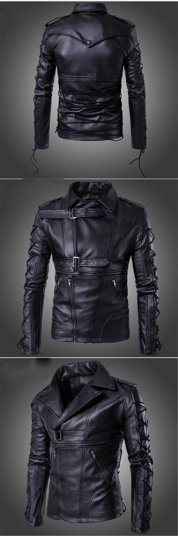 New Fashion Man Coat Slim Fit Long Spring Autumn Outwear Jacket Black Turn-Down Collar PU Jacket Plus Size 3Xl 4Xl 5Xl A3714