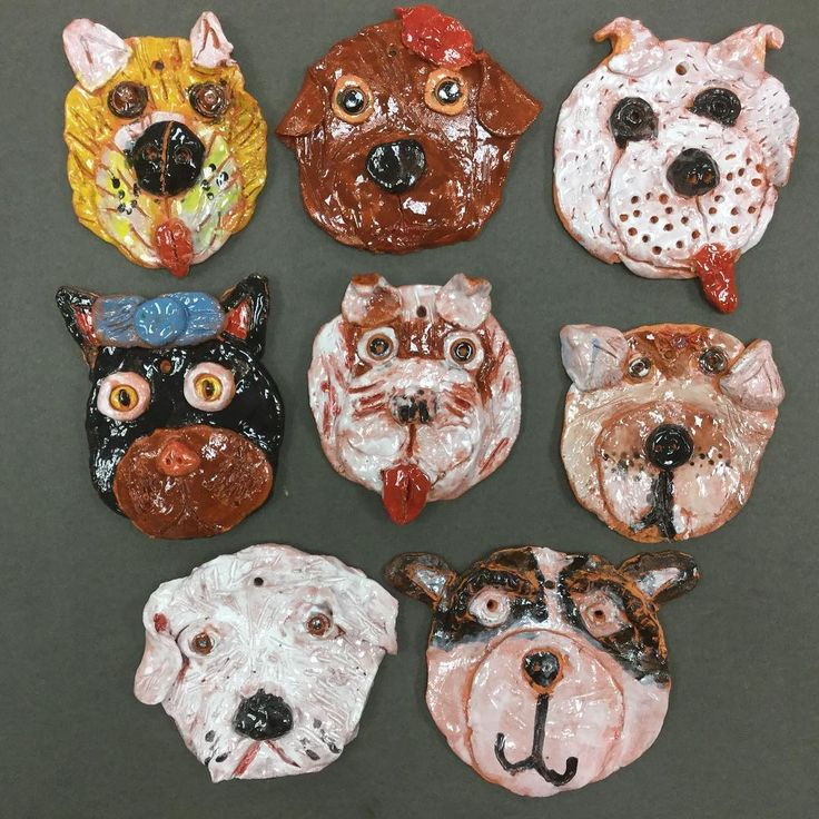 3rd grade pet portraits in clay! The real pets that inspired these are available for adoption at @furkidsatlanta