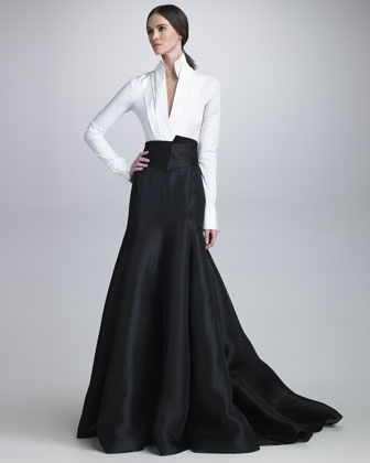 Stretch Taffeta Bodysuit, Long Gazar Evening Skirt & Satin Cummerbund Belt by Donna Karan at Bergdorf Goodman.