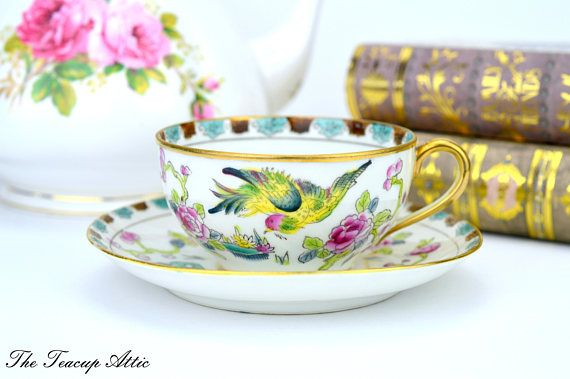 Nippon Hand Painted Teacup And Saucer Set With Bird Japanese